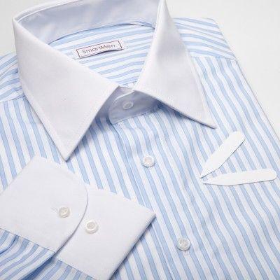 Pánská košile proužek - bílý límeček