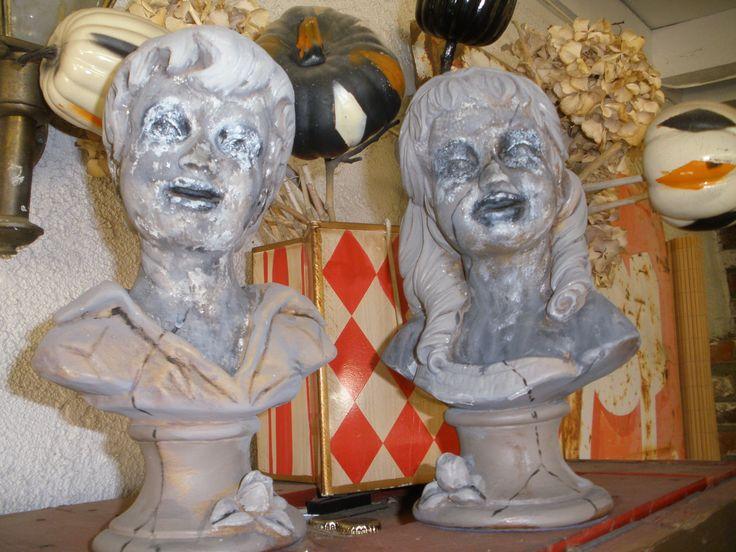 2013 thrift store plaster busts makeover maybe roach out the bases a bit more and - Halloween Statues