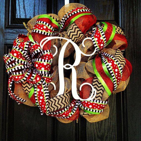 Burlap Christmas Wreath // Red // Lime Green // Black // Chevrons // Vine center