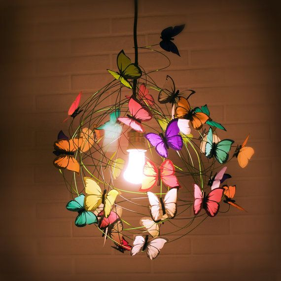 """Lamp with multicolor butterflies and green cord """"The miracle"""" on Wanelo"""