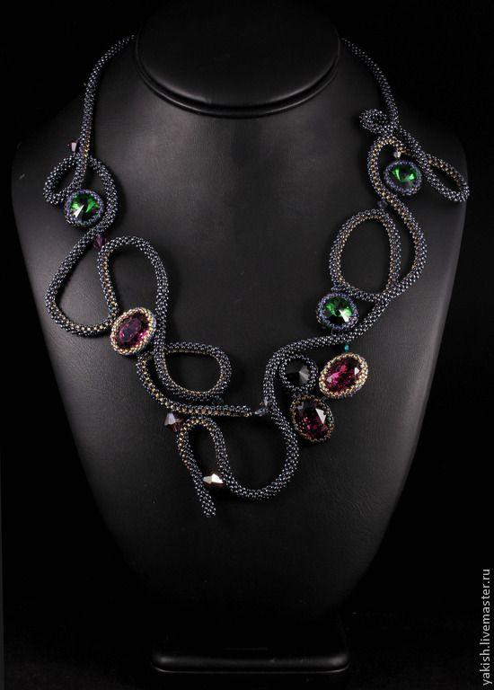 """Купить Колье """"Lilac Shadow"""" - колье из бисера, ручной работы, дизайнерские украшения, с камнями"""