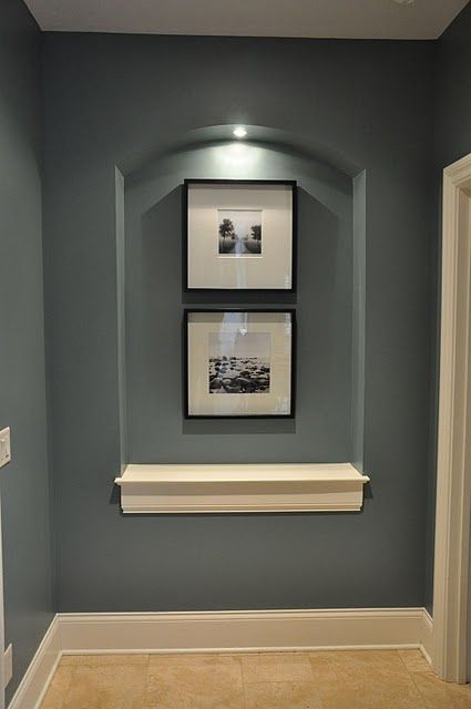 mineral deposit sherwin williams. Love the color and the recessed wall with light . Trim detail