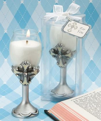 Cross Champagne Flute Communion Candle Favors http://www.alittlefavor.com/products/116/fc8199/cross-champagne-flute-communion-candle-favors.html