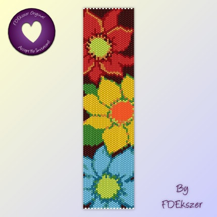 FDEkszer - Passion Flowers - Peyote Stitch Beading Pattern for cuff bracelet - pdf - bp244 / Buy any 2 patterns get 1 free special offer #etsy $6.50