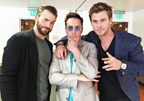 A Chris sandwich! Chris Evans Robert Downey Jr and Chris Hemsworth Avengers Age of Ultron