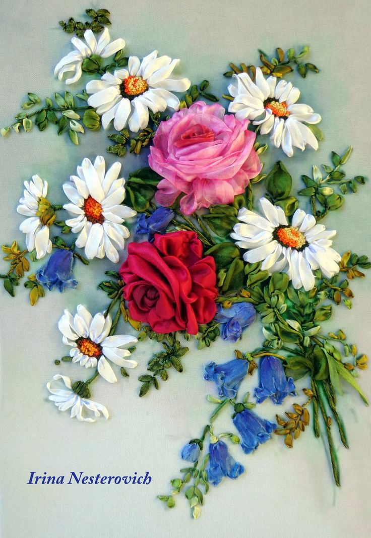 Silk ribbon embroidery Picture 3d  bouquet 30 х 20 by RibbonEmbroiderySilk on Etsy