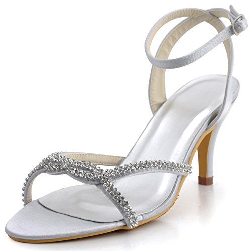 awesome Elegantpark EP2056 Women's Party Open Toe Ankle Strap High Heel Sandal Bridal Wedding Shoes