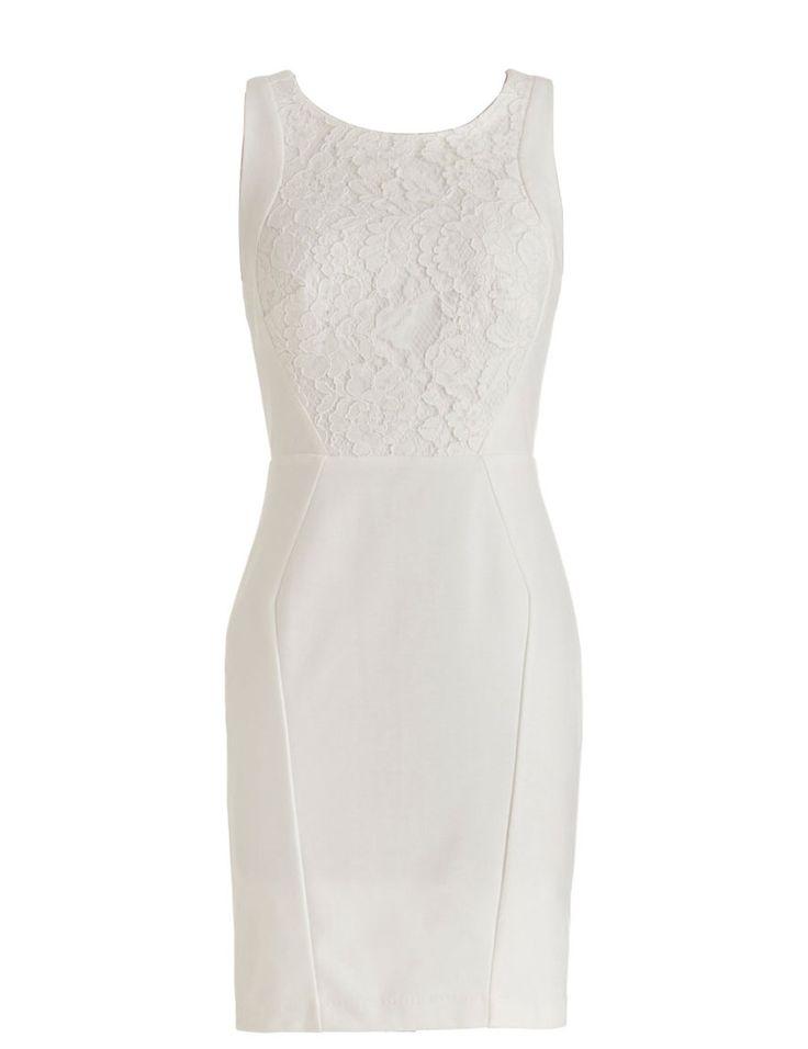Dressystar Damen Mini Satin Etuikleid Abendkleid Rückenfrei Weiß in Größe 32