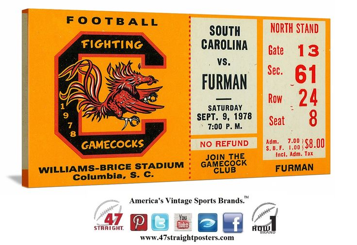 Football art. 1978 South Carolina football ticket stub art. #Heisman winner George Rogers led the #Gamecocks. #SEC #collegefootball #cfb #SouthCarolina #SC #USC #47straight #row1 #gameroom #mancave