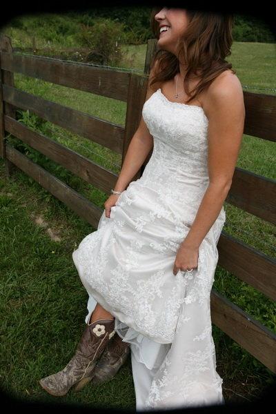 Wedding dress with cowboy boots wedding bells pinterest for Wedding dresses for cowboy boots