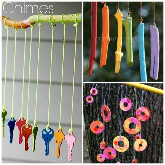 Key windchimes summer crafts pinterest keys for Homemade wind chimes for kids