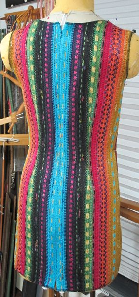 ScarfDressBack  Daryl lancaster. dress from 4 scarves. Links to blog that describes cutting panels and dealing with selvedges.