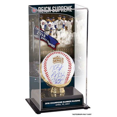 MLB-Chicago Cubs 2016 MLB World Series Champions Team Signed World Series Logo Baseball with Banner Raising Ceremony Sublimated Display Case with Image $3,049.99