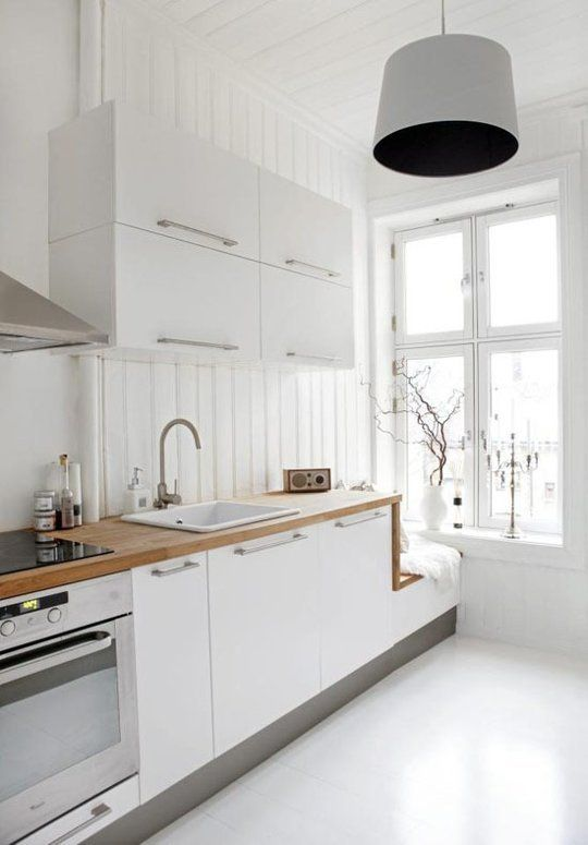 The New Kitchen: 5 Top Trends: White and Wood It's modern, but warm — the best of both worlds. Not something you can do overnight, but this would be a great application for some IKEA butcher block. And don't be scared: butcher block maintenance is easy.  1. A butcher block countertop lends warmth to a Scandinavian kitchen. From Bonytt via From Scandinavia with Love.