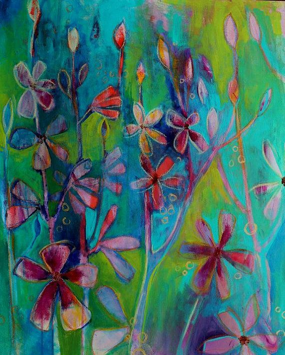 Acrylic painting colorful abstract flowers by for Pretty abstract paintings