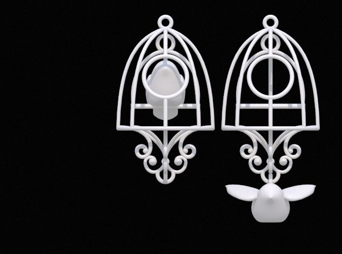 Bird in a Cage Earrings 04 by DenisS 3d printed jewellery