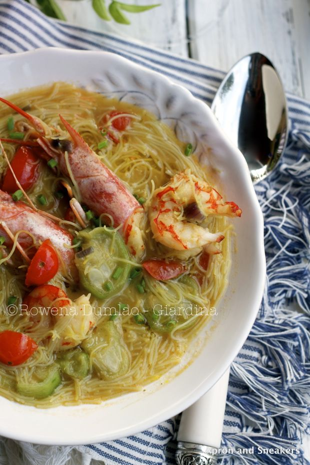 Apron and Sneakers - Cooking & Traveling in Italy and Beyond: Sponge Gourd Soup with Misua, Shrimp & Saffron