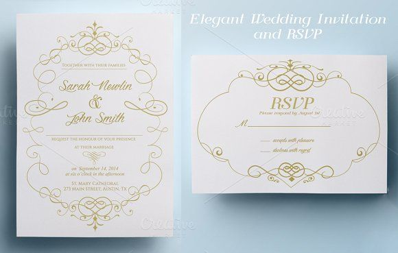 Elegant Wedding Invitation and RSVP by annago on @creativemarket
