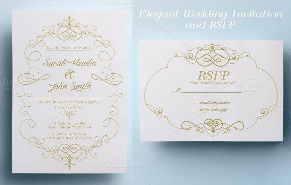 Elegant Wedding Invitation and RSVP by annago on @creativemarket