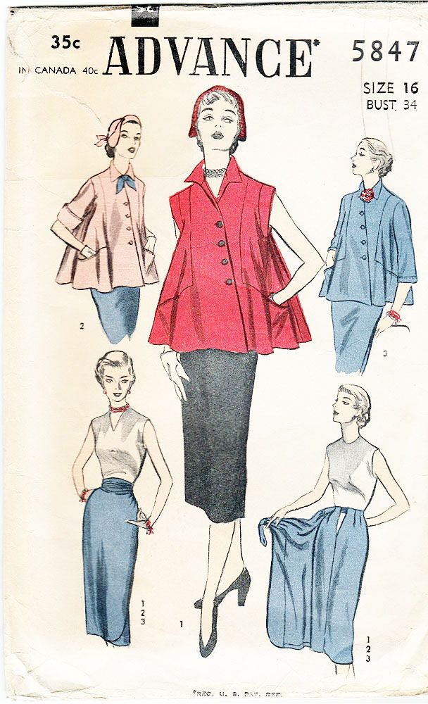 Advance 5847; ca.1951; Women's Maternity Suit, Jacket and Skirt; Size 16, Bust 34 - New Vintage Studio
