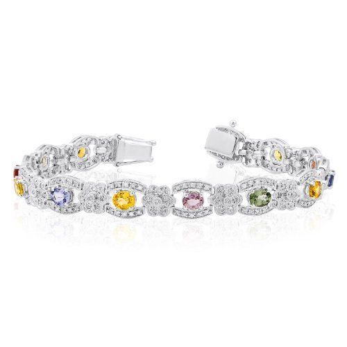 14K White Gold 1ct Diamond and Sapphire Bracelet Jewelry Pot. $1221.00. Items Shipped in Elegant Jewelrypot Gift Box. Free Shipping!. 30 Day Money Back Guarantee. 100% Satisfaction Guarantee. All Genuine Diamonds, Gemstones, and Precious Metals
