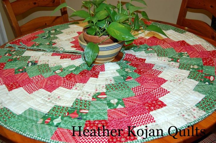 Peppermint Swirl Christmas Tree Skirt Round table cloth for umbrella table?