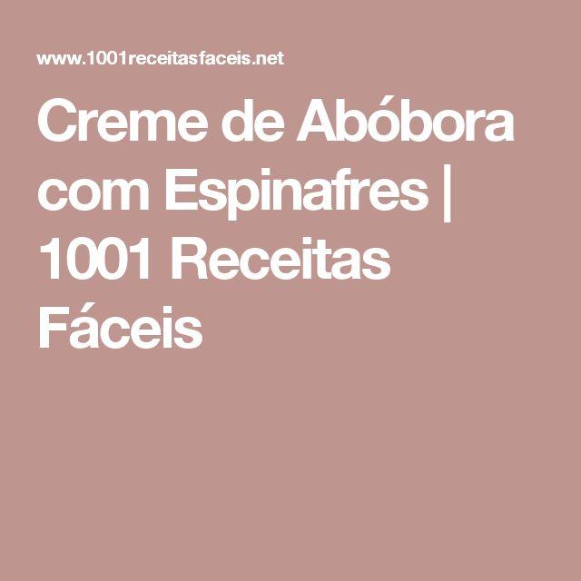 Creme de Abóbora com Espinafres | 1001 Receitas Fáceis