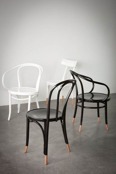 Black or white? Clockwise from front: Thonet No.18, Le Corbusier (white), Hermann Chair, Le Corbusier (black), all painted with natural socks.