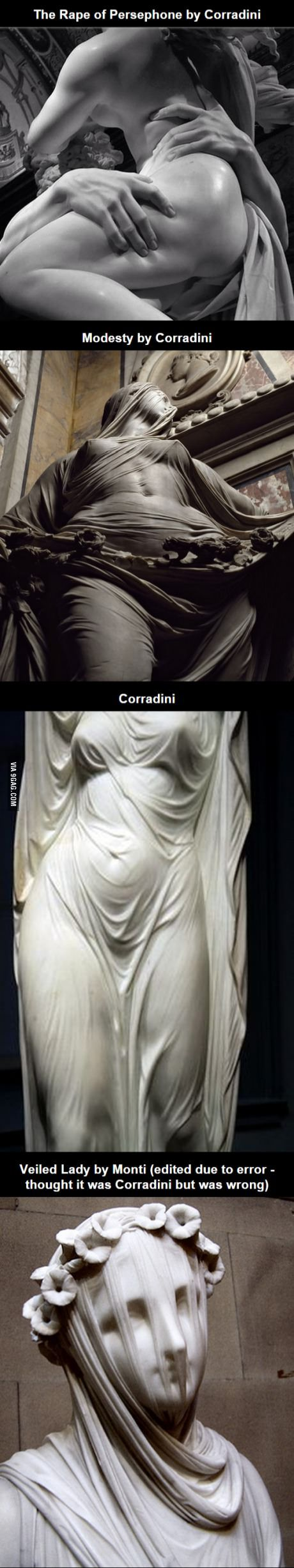 Statues by Antonio Corradini - they make you question that they are indeed made of marble