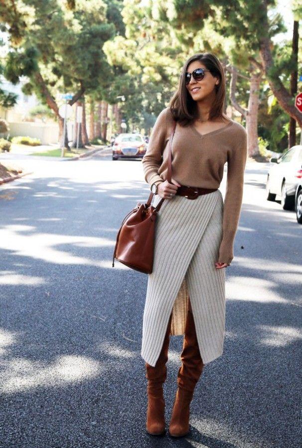 Тенденция: вязаная или трикотажная юбка 4