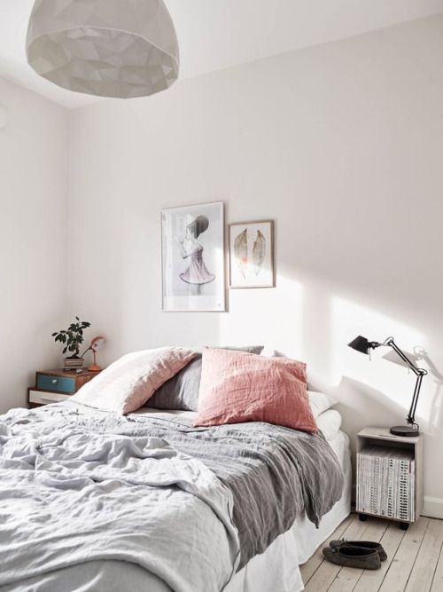 Bedroom inspiration. Bright. White. Modern. Simple. Pillows. Blankets.