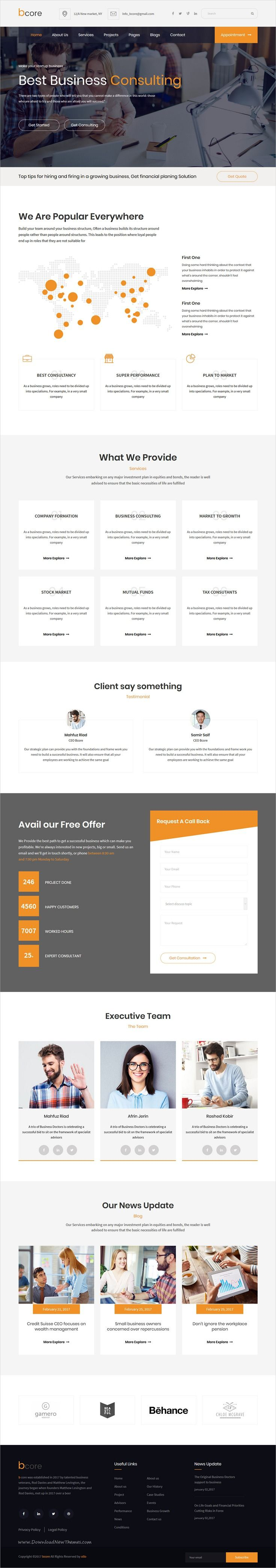 bcore is clean and modern design responsive #HTML template for business #consulting and #professional services website download now..