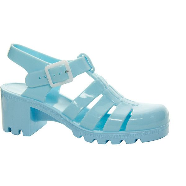 Juju Babe Pale Blue Heeled Sandals (£13) ❤ liked on Polyvore featuring shoes, sandals, blue, heels, blue heeled shoes, heeled sandals, juju shoes, rubber sandals and juju footwear