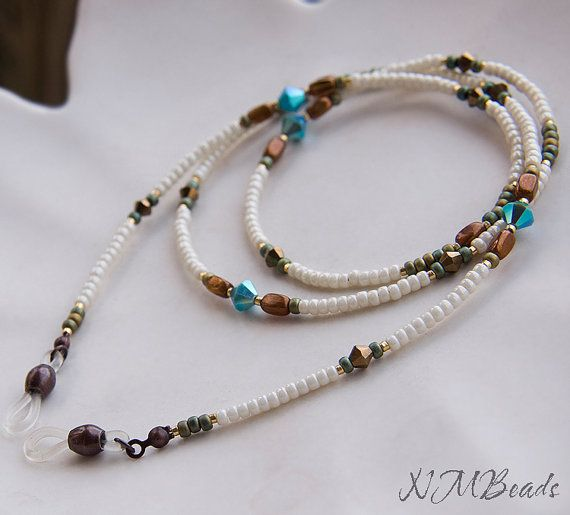Beaded Earthtone Eyeglasses Chain Ivory Bronze by NMBeadsJewelry