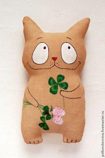 Котик с четырехлистником - бежевый,кот,котэ,котик,кофейный кот,игрушка кот