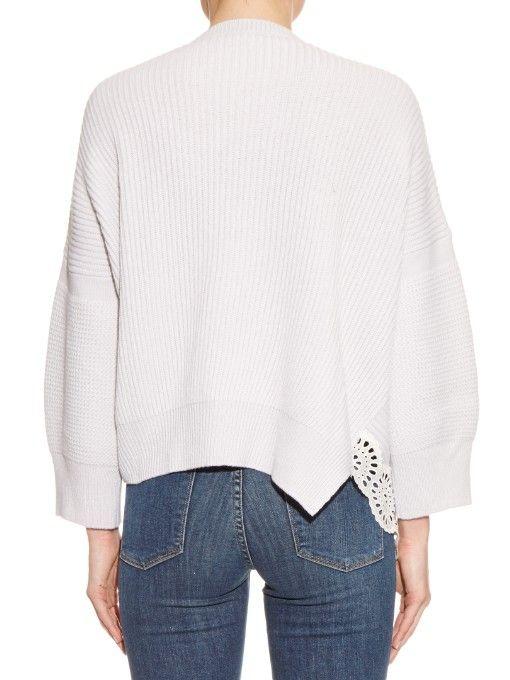 Stella McCartney Lace insert wool and silk-blend sweater