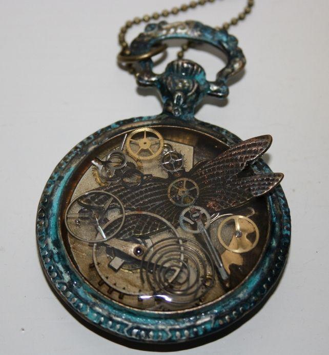 Steampunk Dragonfly Pocket Watch Necklace
