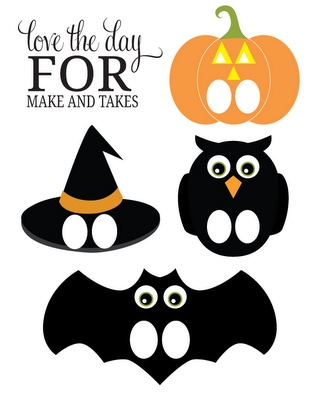 halloween paper puppet printables via and takes