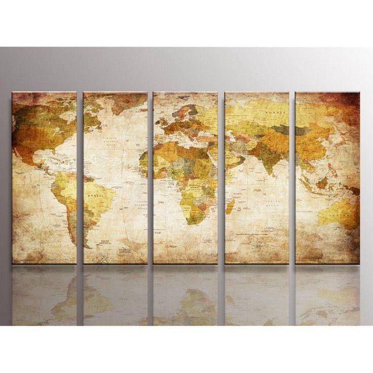 Multiple Panel Vintage World Map Wall Art