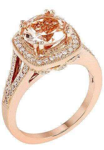 14k Rose Gold Round Morganite & Diamond Halo Ring – Sparkle & Jade