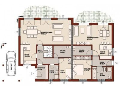 Die besten 25 einfamilienhaus mit einliegerwohnung ideen for Zweifamilien bungalow grundriss