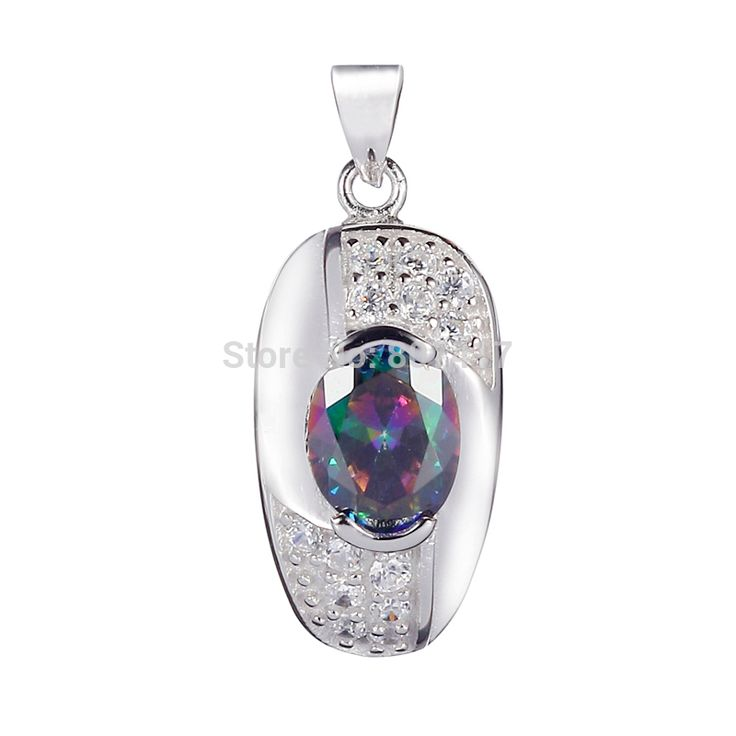 Wholesale sporty Rainbow Cubic Zirconia 925 sterling Silver fashion Beautiful Pendants S--3719 Romantic Style Women Jewelry Gift