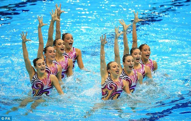 Polished routine: Kate looked on as Great Britain's synchronised swimming team finished in sixth place