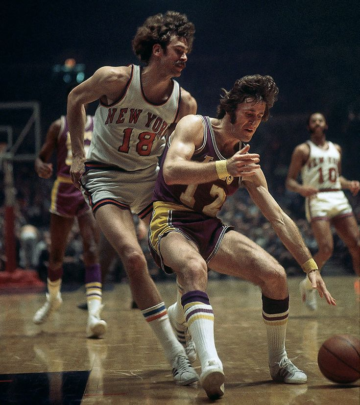 Phil Jackson defends against Pat Riley during Game 4 of the 1972 NBA Finals between the New York Knicks and Los Angeles Lakers at Madison Square Garden. #NBA #Vintage