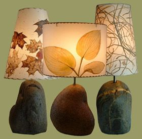 Leaf lampshades-use spray paint and make the outline of the leaf/plant with neutral colors.