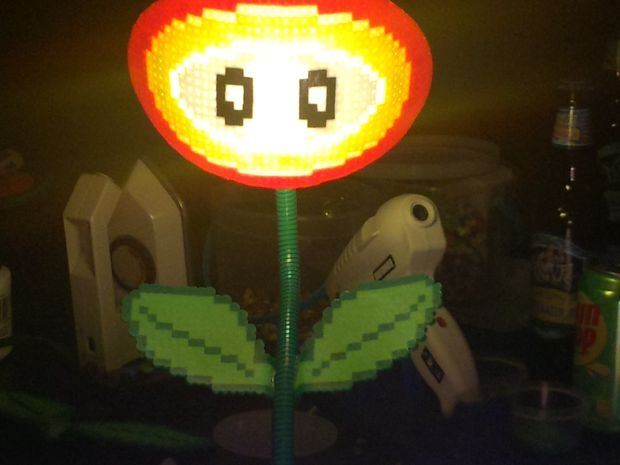 100 best images about Geek Lamps to Light up the Room on Pinterest ...:DIY Mario Fire Flower Lamp perler beads by ewilde1,Lighting