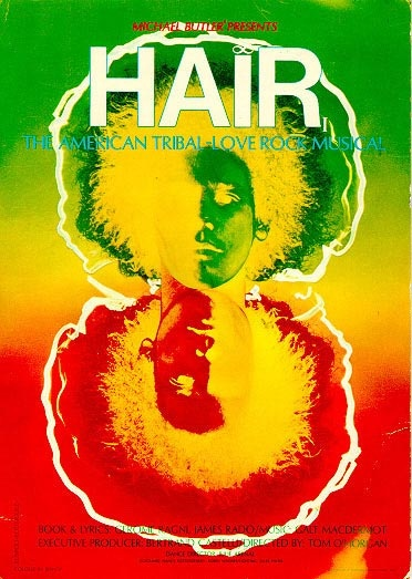 HAIR, the counterculture musical on Broadway in 1968