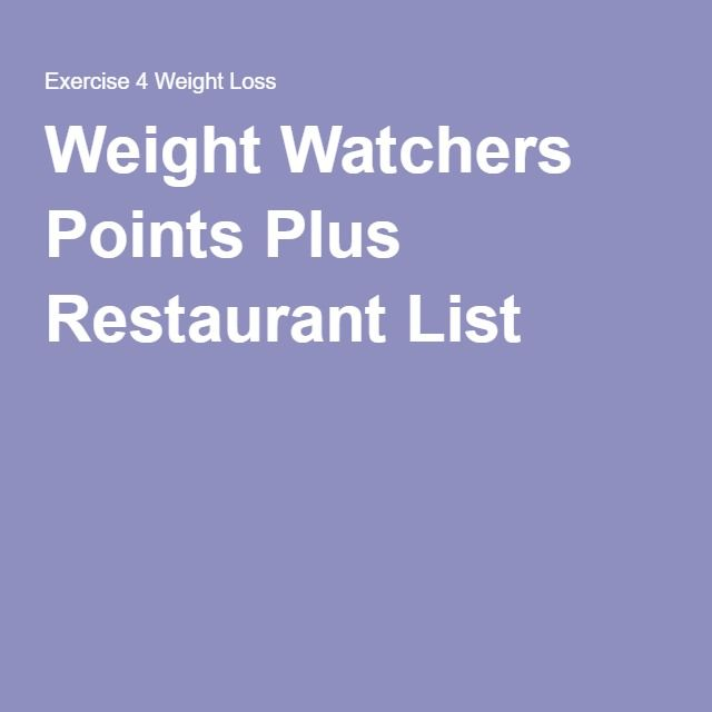 Weight Watchers Points Plus Restaurant List