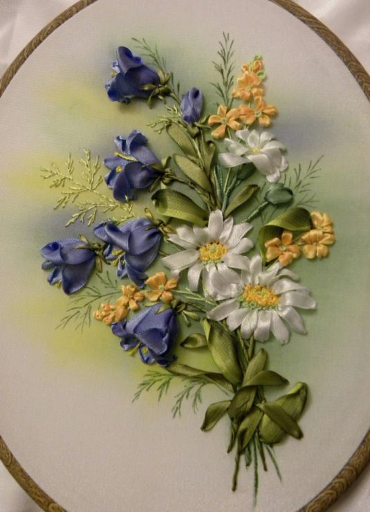 Blue flowers and daisies ribbon embroidery