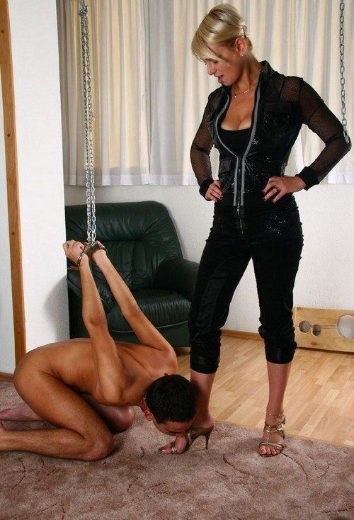 image Cfnm femdoms dominating this sub by tugging his cock